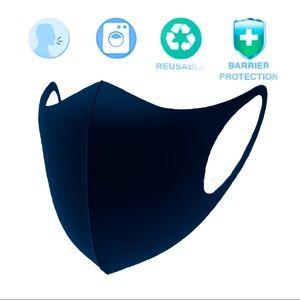 5 Navy Polyester Unisex Washable Reuseable Masks
